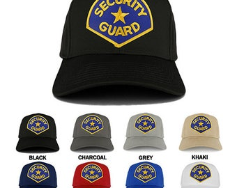 Security Guard Blue Gold Embroidered Iron on Patch Adjustable Baseball Cap (27-079-PM4068)