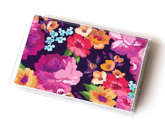 Vinyl Card Holder - Margot Purple / summer wallet, vegan wallet, floral wallet, card case, vinyl wallet, women's wallet, small wallet, gift