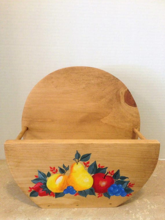 Paper Plate Holder, gift for her, fruit decor, Apples Pears Decor, decorative fruit, fruit kitchen decor, country decor, wooden plate holder