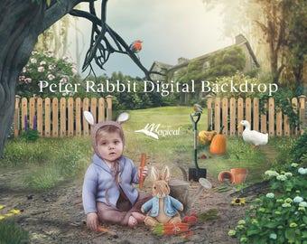 Peter Rabbit Digital Backdrop   Digital Background   Hill Top Farm Background   Photo drop   Photography Background   Peter Rabbit   Easter