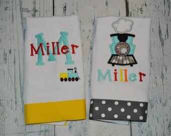 Personalized Train Burp cloth Set of 2, Embroidered Burpie Set, Monogram Baby Burp Cloth Gift Set