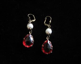 Faceted Ruby Red Earrings