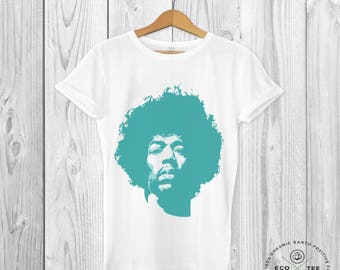 Jimi Hendrix T-shirt, Rock star shirt, Art T-shirt, Unisex WHITE tee, Graphic tees, Organic tshirt, Vegan clothing, Fair trade clothing