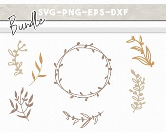 floral svg bundle, handdrawn wreath svg, handdrawn laurel eps dxf png, svg files for cricut, rustic stencil clipart, leaves flower clipart