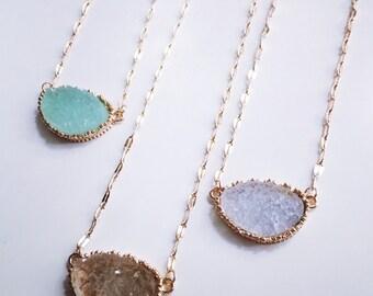 Dainty Druzy Necklace // Druzy Layering Necklace // Bridesmaid Jewelry // Bridesmaid Necklace