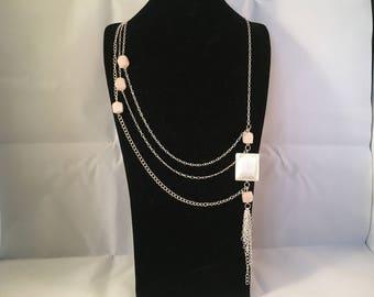 Rose Quartz A-Symmetric Necklace and Earring Set