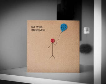 On Your Birthday With Blue Balloon Greeting Card