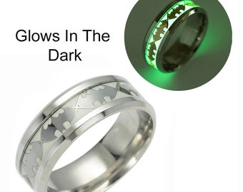 Glow in Dark Bats Stainless Steel Comfort Fit Band Ring - Ginger Lyne Collection