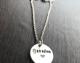Hand Stamped Necklace - Gift for Grandmother - Personalized Jewelry - Personalized Necklace - grandma necklace - Mothers Day Gift