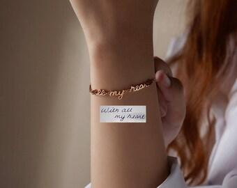 Handwriting Bracelet with Linked Words • Actual Handwriting Jewelry • Signature Bracelet • Handwritten Bracelet • Memorial Bracelet CHB11