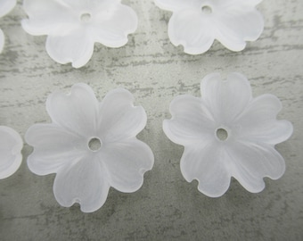 Flower Beads - Flower Pendants - Flower Drops - Matte Crystal White - 23mm - Made in Germany - Qty 6 *NEW ITEM*
