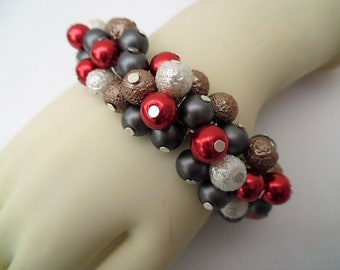 Neutral Beaded Bracelet, Pearl Cluster Bracelet, Chunky Bracelet, Gift For Her, Everyday Bracelet, Gray Bracelet, Fashion Jewelry, Red Gray