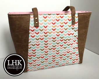 Pink and gold large tote bag