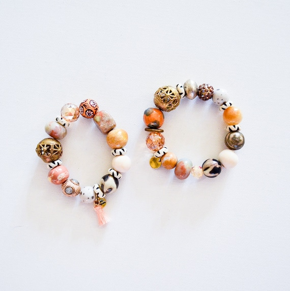 Gallery Collection: Orange tan quartz, fair trade african beads, unique bracelets