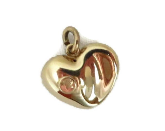 14K Gold Heart Pendant - Vintage Puffy Heart Solid Gold Pendant