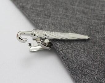 Umbrella Tie Clip, Silver Umbrella Accessories, Novelty Accessories, Gift For Man
