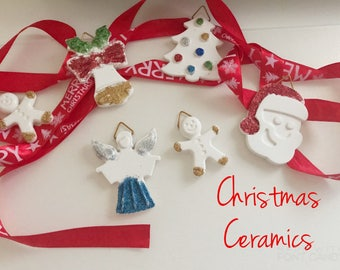 Glitter ceramic Christmas decorations, set of 6 pieces