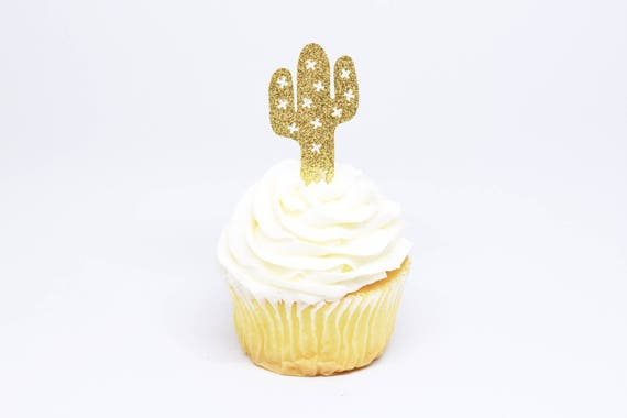Cactus Cupcake Toppers - Gold Glitter - First Birthday Decor. Cactus Party Supplies. Birthday Party. Cactus Party Decor. Bridal Shower.
