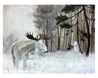 Art Print: Forest Spirit. Limited edition, moose, white, spirit, forest, woods, nordic, lore, winter, snow, scandinavian, magic, realism