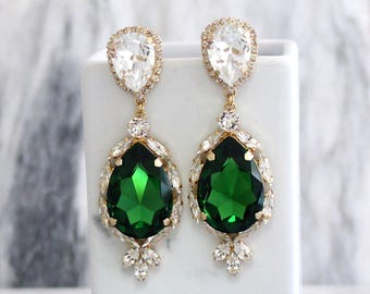 Emerald Earrings, Emerlad Long Earrings, Bridal Earrings, Statement Earrings, Emerald Statement Earrings, Green Swarovski Crystal Earrings