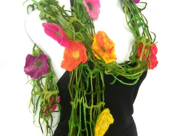 Felted Scarf, Floral Flowers, Lattice Scarf, Fishnet Design, Green Multicolor, Merino Wool Felt Scarf,  CUSTOM ORDER