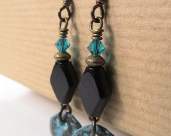 Black Wood Bead and Blue Patina Charm Beaded Niobium Earrings