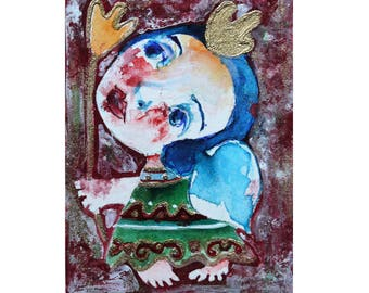 Original angel paining, ACEO, folk art painting, abstract angels, angel art, primitive art, naive painting