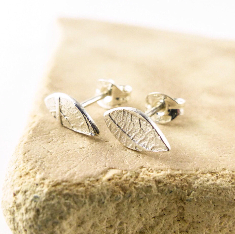 Tiny Ear Studs Delicate Leaf Stud Earrings Silver Leaf