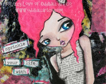 Mixed Media Girl Big Eye Giclee Art Print Signed Reproduction Sprinkle With Art by Lizzy Love [IMG#110]