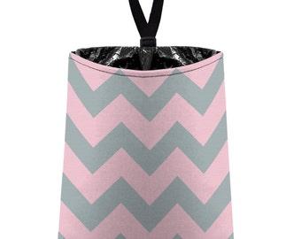 Car Trash Bag // Auto Trash Bag // Car Accessories // Car Litter Bag // Car Garbage Bag - Chevron - Baby Pink and Light Grey Zigzags