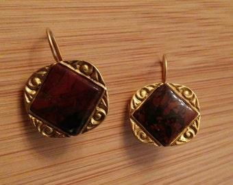 Red jasper earrings set in gold over pewter