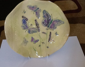 SALE!!! Botanical cottage garden butterflies and lavender dish