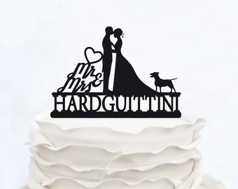 Wedding Cake Topper With Last name_MR & Mrs cake Topper_Custom Cake Topper with dog_Groom And Bride silhouette personalized Cake Topper