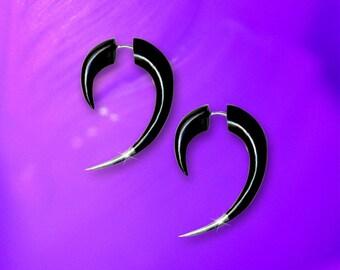 Silver Tip Hooks, Fake Gauge, Black Horn, Tribal Earrings, Handmade, Organic, Split Expanders, Cheaters, Eco Friendly, Fake Plugs - H02