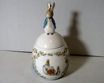Vintage Beatrix Potter, Peter Rabbit egg Shaped Trinket, Candy Box, Candy container, Scenes of Mrs Rabbit and Her Bunnies, Adorable!