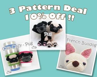 PDF Amigurumi / Crochet Pattern Special 3-Pattern Deal: Amigurumi Pug, Coffee Cup Cozy – Pug, Amigurumi French Bulldog CPD-16-3312