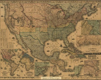 Poster, Many Sizes Available; Military Map United States Mexico Cuba 1862