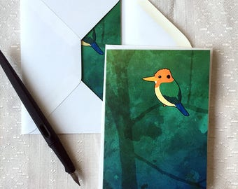 Yellow-billed Kingfisher – Blank Notecards for Bird Lovers with Envelopes