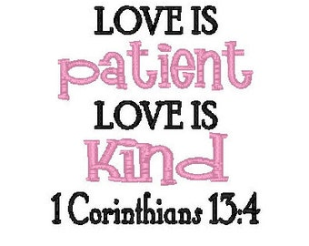 love is patient embroidery design bible verse embroidery design machine embroidery love is patient love is kind
