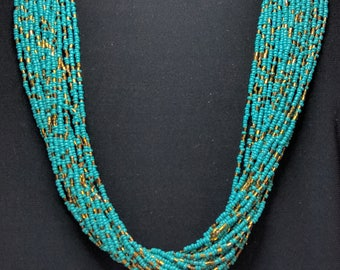 Stunning Turquoise & Bronze Statement Necklace