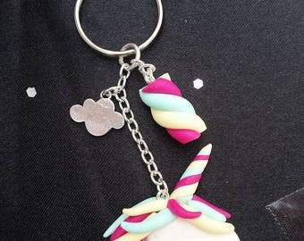 Magical unicorn and marshmallow keychain