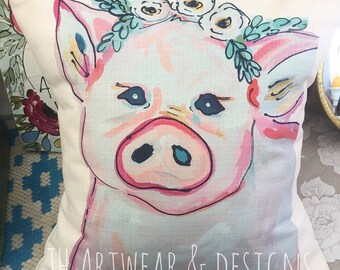 Gypsy Flower Crown Pig Pillow