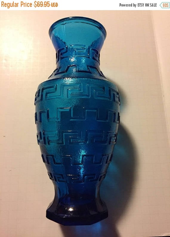 Vtg Big Blue Vase Greek Key Design Modern Vase Mid Century