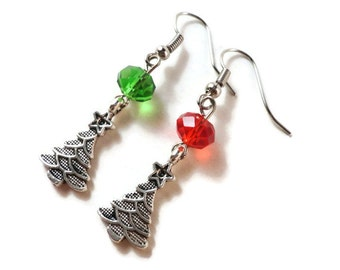 Christmas Tree Earrings, Silver Christmas Tree Charm Earrings, Red and Green Bead Earrings, Christmas Jewelry, Holiday Jewelry, Gift for Her