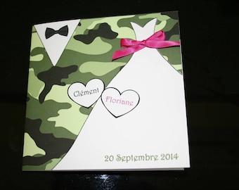 Army military Theme wedding invitation