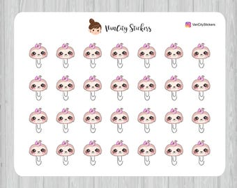 Sloth Paper Clip Stickers, Cute Stoth Planner Stickers, Kawaii Sloth Stickers, Lucy the Sloth Stickers