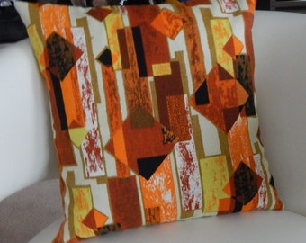 "Mid Century Modern Barkcloth Pillow Cover ""Retro Cool-Og"" Retro 60's Zippered"