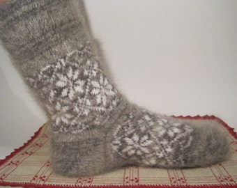 Men/Women wool socks EU-42-43- 44 US- 9-10 Knit and felt socks of natural Angora wool and goat fuzz Scandinavian Comfortable Soft socks