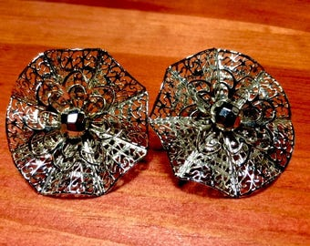 Vintage 80's - Silver Metal Lattice Clip Earrings