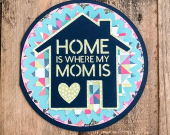 Home Is Mother's Day Card - Geometric: Pink, Teal, Seafoam Green, Navy